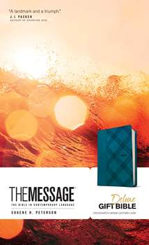 The Message Deluxe Gift Bible: Leather-Look, Crosshatch Denim