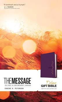 The Message Deluxe Gift Bible: Leather-Look, Amethyst Gem